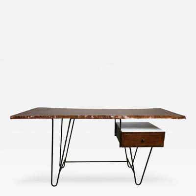 Hairpin Desk with Floating Drawer and Custom Free Edge Walnut Top