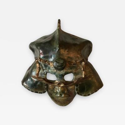 Hal Wahlborg Impressive Raku Mask of a Warrior in Helmet by Hal Wahlborg