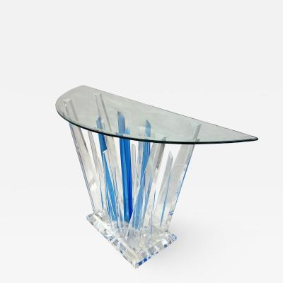 Half Moon Acrylic Blue Clear Abstract Console with Clear Bevelled Glass Top
