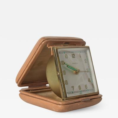 Hampden German Travel Alarm Clock Vintage Tan Leather Case 1950s Germany