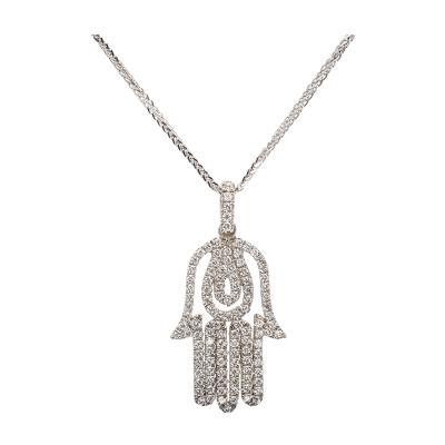 Hamsa Diamond White Gold Pendant Necklace