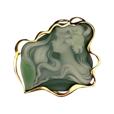 Hand Carved Agate Pin