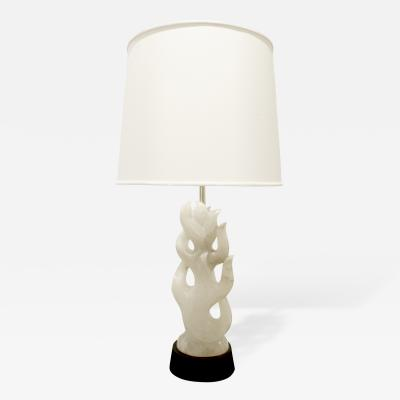 Hand Carved Alabaster Table Lamp 1940s
