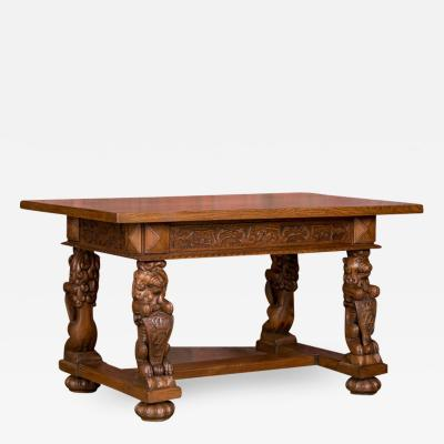 Hand Carved Antique Danish Oak Desk Entry Table