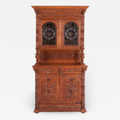 Hand Carved French Henri II Style Oak Cabinet 19th Century