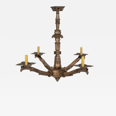 Hand Carved Giltwood Italian Chandelier