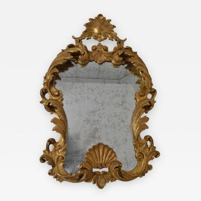 Hand Carved Giltwood Mirror with Heavily Antiqued Glass Italy Circa 1950s