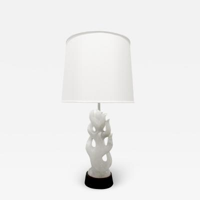 Hand Carved Italian Alabaster Table Lamp 1940s