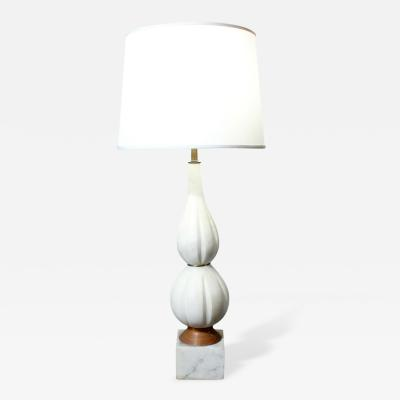 Hand Carved Italian Alabaster Table Lamp on a Marble Base