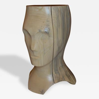 Hand Carved Spalted Head Side Table