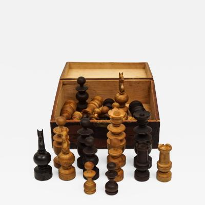 Hand Carved Wood Chess Set and Box