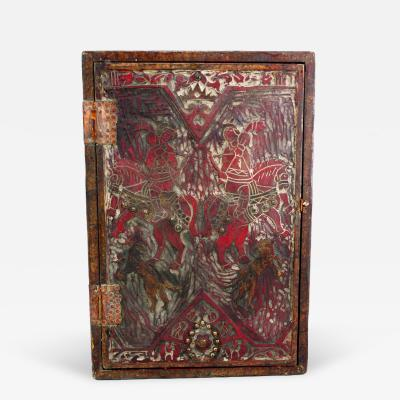 Hand Carved and Painted Antique Bible Box with Hunt Motif