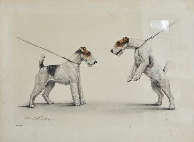 Hand Colored Print of two Dogs