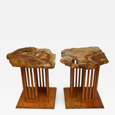 Hand Crafted Californian Studio Polished Stone Top End Tables from the 1960s