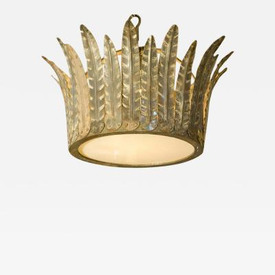 Hand Crafted Custom Iron Fairfield Crown Light with Glass Diffuser