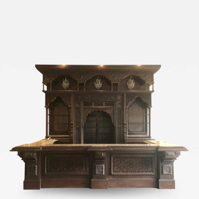 Hand Crafted Wooden Front and Back Bar With Granite Countertop and Sink