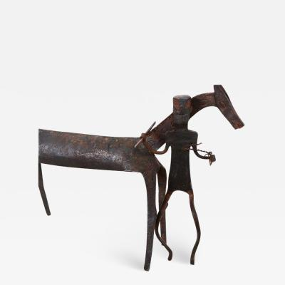 Hand Forged Iron Horse and Rider Sculpture Antique African Tribal Dogon 1920s
