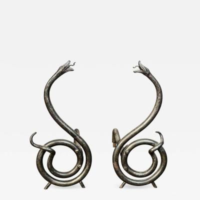 Hand Forged Serpent Form Steel Andirons