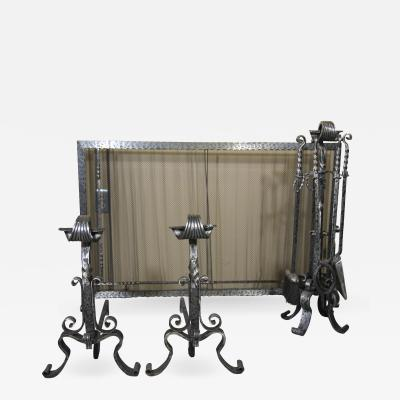 Hand Forged Wrought Iron Fireplace set Screen Tools and Andirons