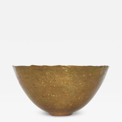 Hand Hammered Scalloped Brass Bowl Fairthorne Studios Canada 1994