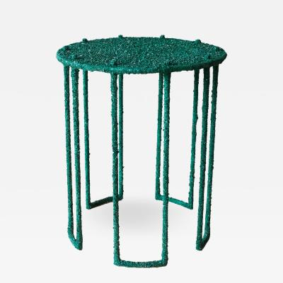Hand Made Side Table of Crushed Malachite of the Congo