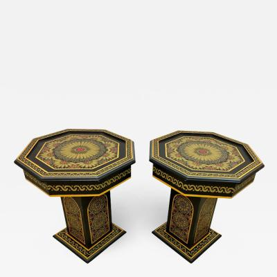 Hand Painted Black Moroccan End Side or Lamp Tables Octagonal Shaped a Pair