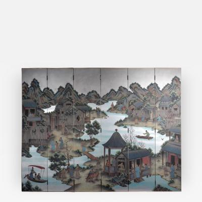 Hand Painted Chinoiserie Six Panel Screen