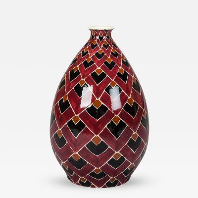Hand Painted Op Art Belgian Ceramic Vase
