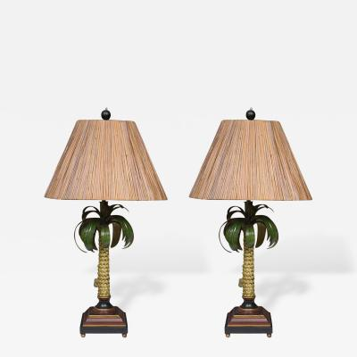 Hand Painted Palm Tree Lamps with Custom Bamboo Shades