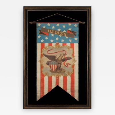 Hand Painted Patriotic Banner With The Seal of the State of Illinois