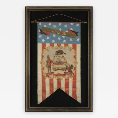 Hand Painted Patriotic Banner with the Seal of the State of Oregon