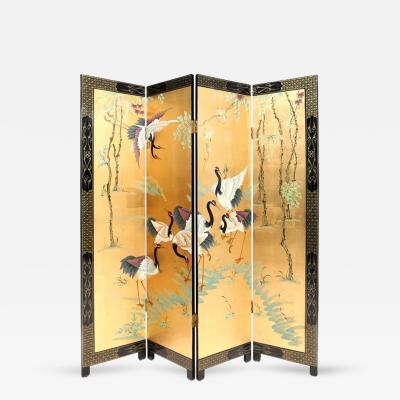 Hand Painted Xian He Folding Screen
