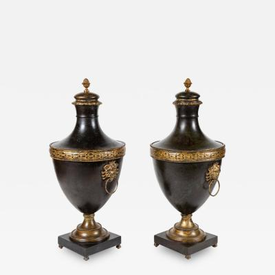 Hand Pounded Tuscan Metal Urns