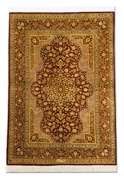 Hand Woven Silk Rug Persian Oriental Carpet Pure Silk Qum Rug