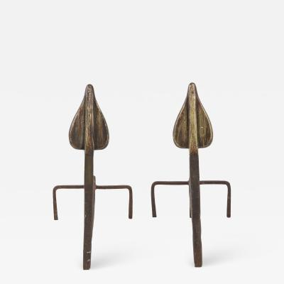 Hand Wrought Flame andirons