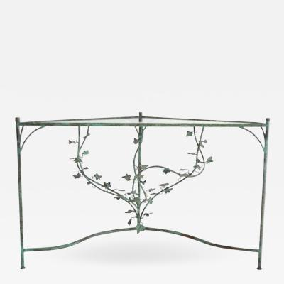 Hand Wrought Verdigris Scrolling Vine Form Side Table or Console Table