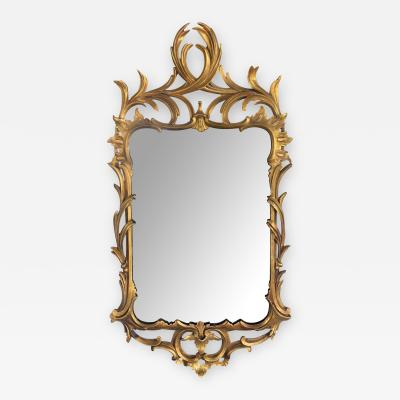 Hand carved Continental Rococo Revival Foliate Giltwood Mirror