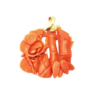 Hand carved Natural Italian Red Coral Bamboo 14KT Yellow Gold Pendant