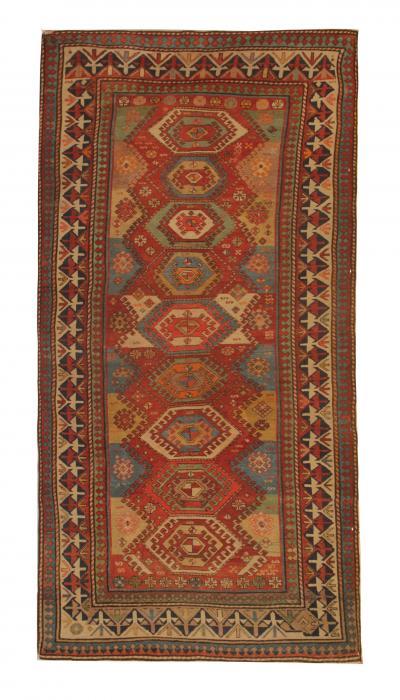 Hand woven Antique Kazak Rug Oriental Kazak Carpet Rug 120x244cm