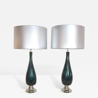 Handblown Murano Glass Lamps in Deep Green with Interior Gold Flecking