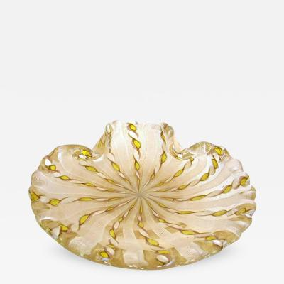 Handblown Murano Glass Scalloped Edge Latticino Console Bowl