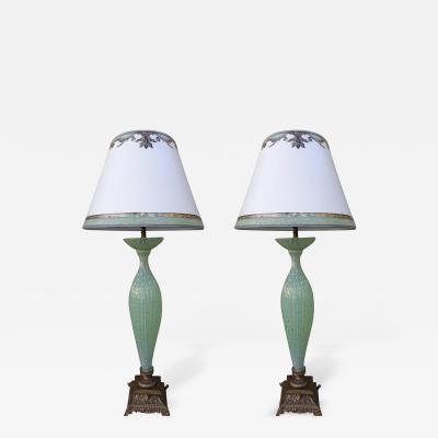 Handblown Murano Lamps with Parchment Shades Pair