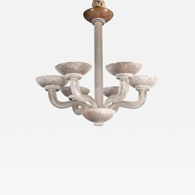 Handblown Scavo Glass Chandelier by Karl Springer for Seguso