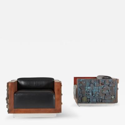Handcrafted Brutalist Club Lounge Chairs Limited Edition