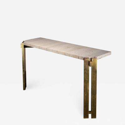 Handcrafted Console In White Travertine And Brass Italy 1970s