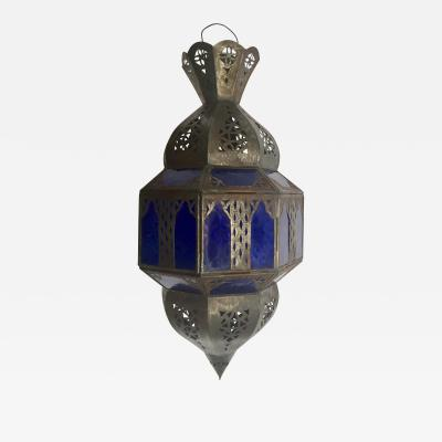 Handcrafted Moroccan Metal and Blue Glass Lantern Octagonal Shape