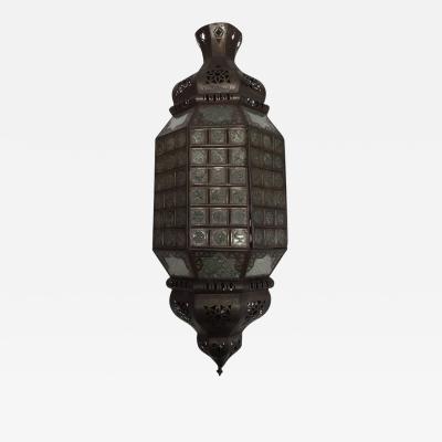 Handcrafted Moroccan Moorish Metal Filigree and Glass Lantern Pendant