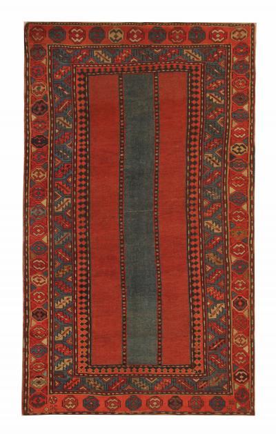 Handmade Antique Caucasian Talesh Rug Rare Wool Carpet 122x212cm