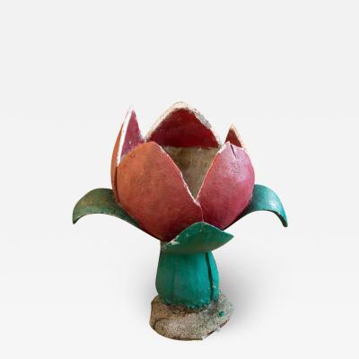 Handmade Belgian Tulip Painted Concrete Planter or Jardini re