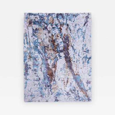 Handmade Contemporary Rug Silk and Wool in Blue and Earth Colors
